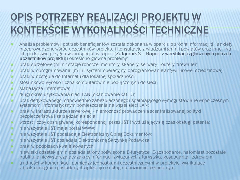 Analiza problemów i potrzeb beneficjentów została dokonana w oparciu o źródła informacji tj.: ankiety przeprowadzone wśród uczestników projektu i kons