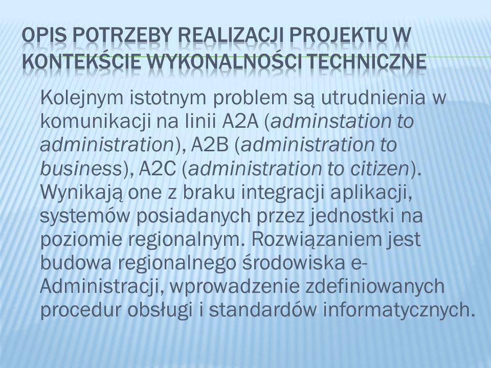 Kolejnym istotnym problem są utrudnienia w komunikacji na linii A2A (adminstation to administration), A2B (administration to business), A2C (administr