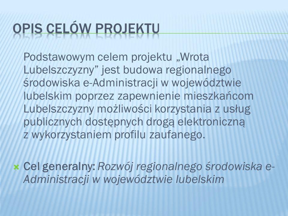 Podstawowym celem projektu Wrota Lubelszczyzny jest budowa regionalnego środowiska e-Administracji w województwie lubelskim poprzez zapewnienie mieszk