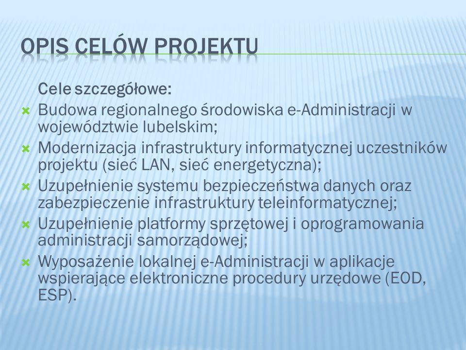 Cele szczegółowe: Budowa regionalnego środowiska e-Administracji w województwie lubelskim; Modernizacja infrastruktury informatycznej uczestników proj