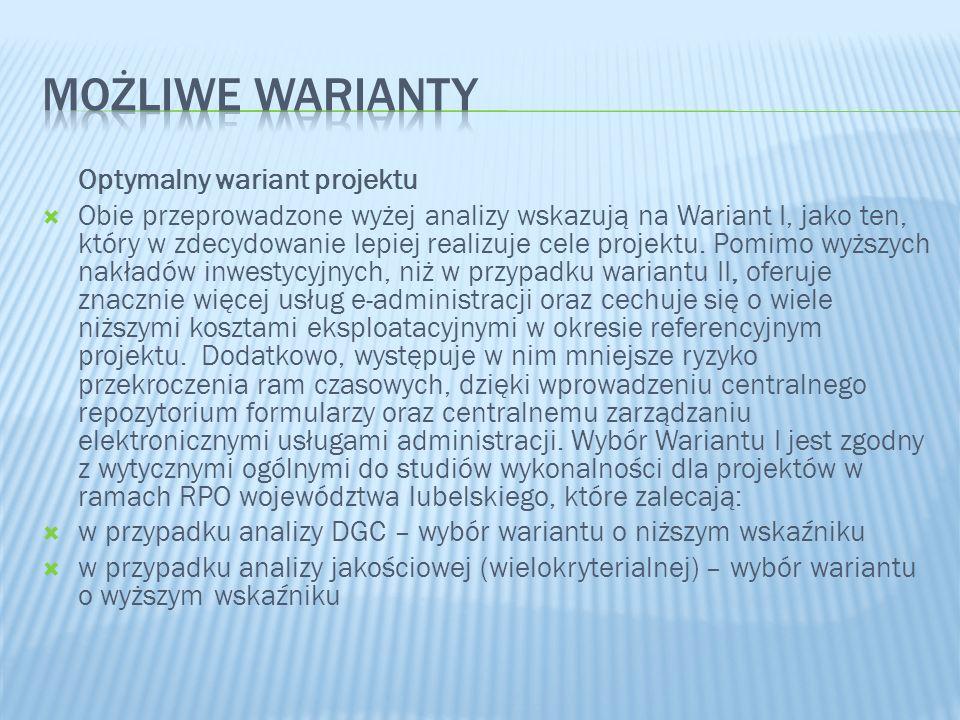 Optymalny wariant projektu Obie przeprowadzone wyżej analizy wskazują na Wariant I, jako ten, który w zdecydowanie lepiej realizuje cele projektu. Pom