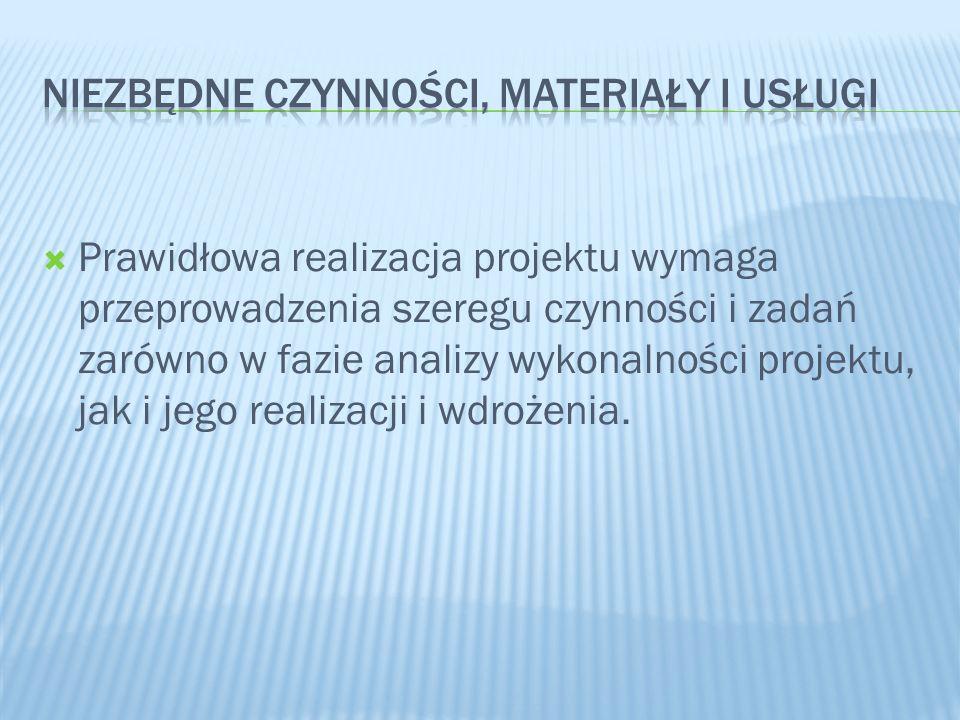 Prawidłowa realizacja projektu wymaga przeprowadzenia szeregu czynności i zadań zarówno w fazie analizy wykonalności projektu, jak i jego realizacji i
