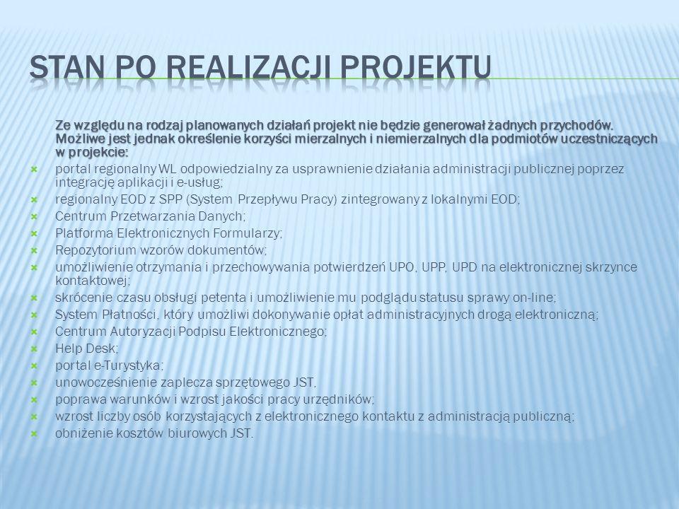 Ze względu na rodzaj planowanych działań projekt nie będzie generował żadnych przychodów. Możliwe jest jednak określenie korzyści mierzalnych i niemie
