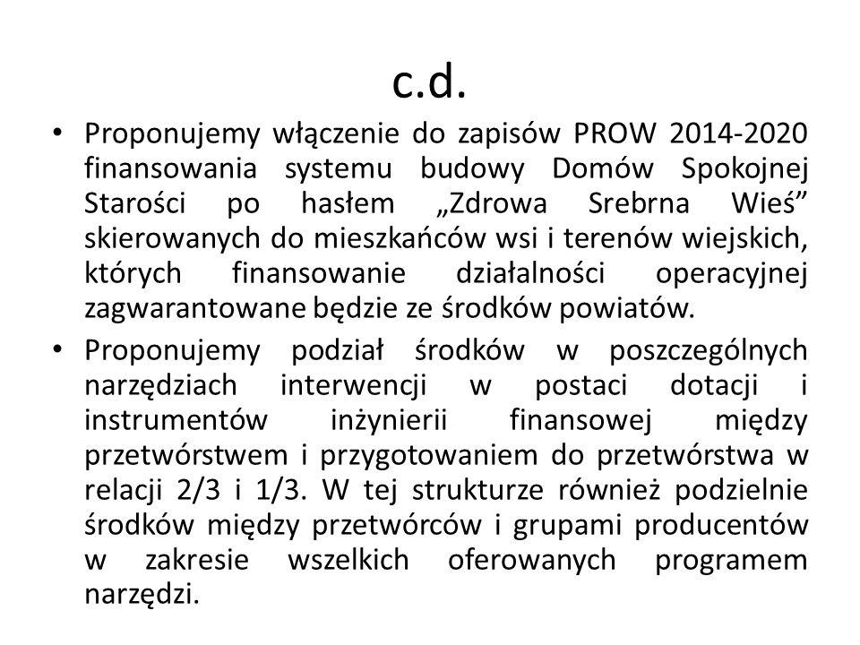 c.d. Proponujemy włączenie do zapisów PROW 2014-2020 finansowania systemu budowy Domów Spokojnej Starości po hasłem Zdrowa Srebrna Wieś skierowanych d