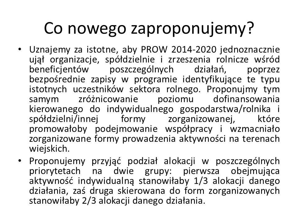 Co nowego zaproponujemy? Uznajemy za istotne, aby PROW 2014-2020 jednoznacznie ujął organizacje, spółdzielnie i zrzeszenia rolnicze wśród beneficjentó