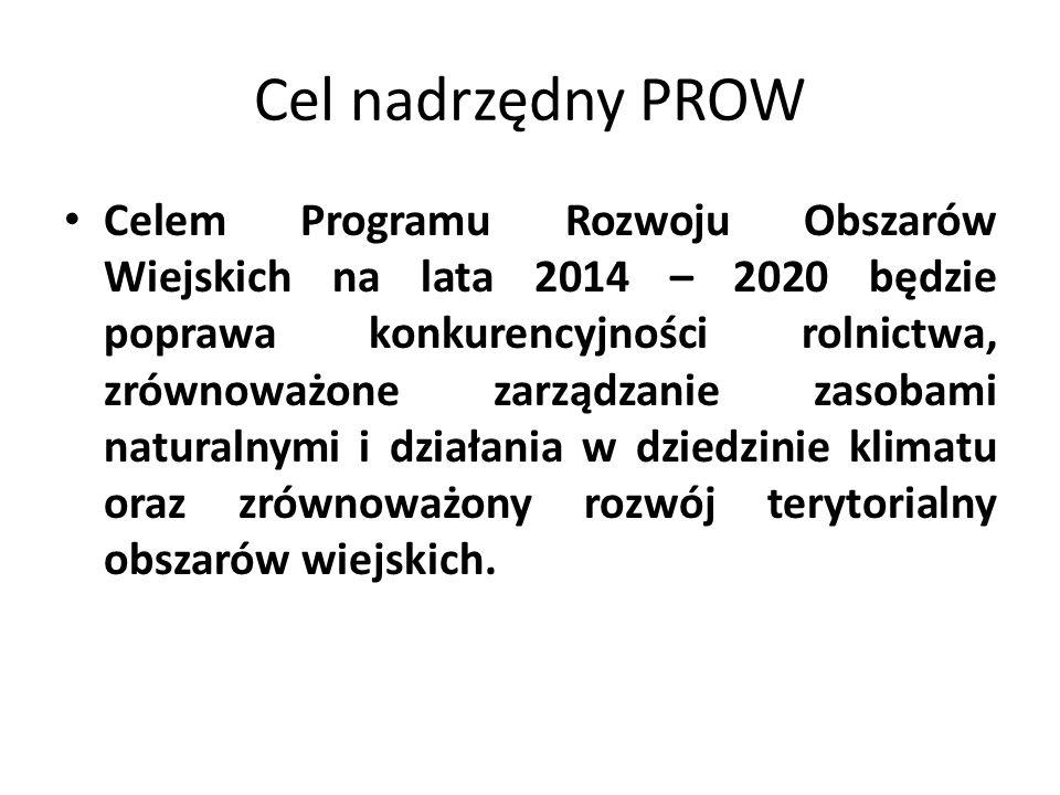 Cel nadrzędny PROW Celem Programu Rozwoju Obszarów Wiejskich na lata 2014 – 2020 będzie poprawa konkurencyjności rolnictwa, zrównoważone zarządzanie z