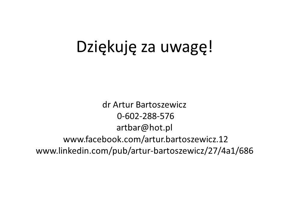 Dziękuję za uwagę! dr Artur Bartoszewicz 0-602-288-576 artbar@hot.pl www.facebook.com/artur.bartoszewicz.12 www.linkedin.com/pub/artur-bartoszewicz/27
