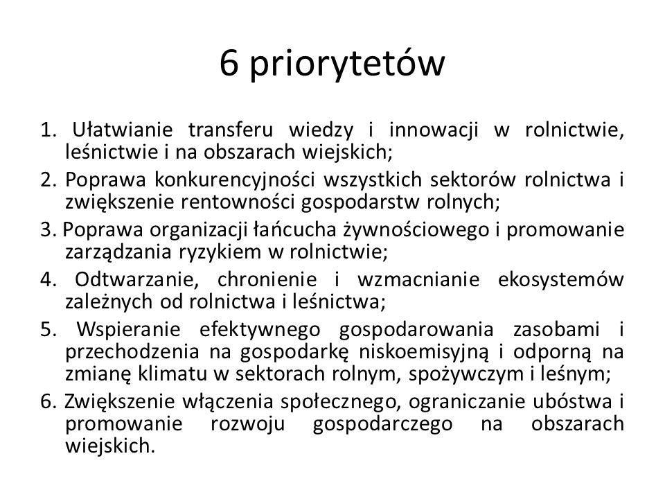 6 priorytetów 1. Ułatwianie transferu wiedzy i innowacji w rolnictwie, leśnictwie i na obszarach wiejskich; 2. Poprawa konkurencyjności wszystkich sek
