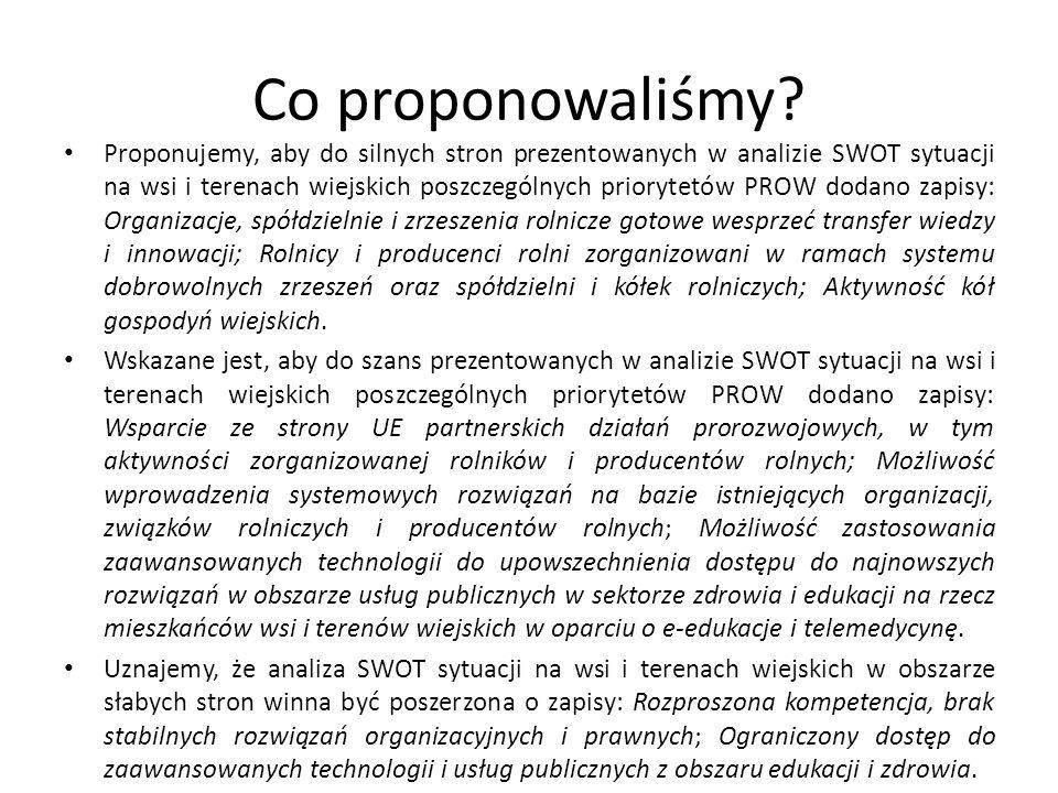 Co proponowaliśmy? Proponujemy, aby do silnych stron prezentowanych w analizie SWOT sytuacji na wsi i terenach wiejskich poszczególnych priorytetów PR
