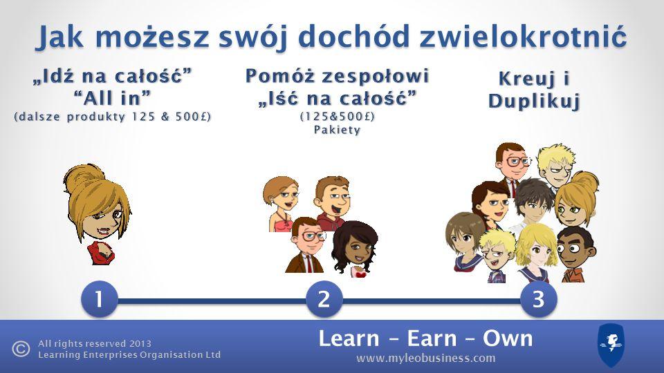Learn – Earn – Own www.myleobusiness.com All rights reserved 2013 Learning Enterprises Organisation Ltd Jak mo ż esz swój dochód zwielokrotni ć 1 1 2