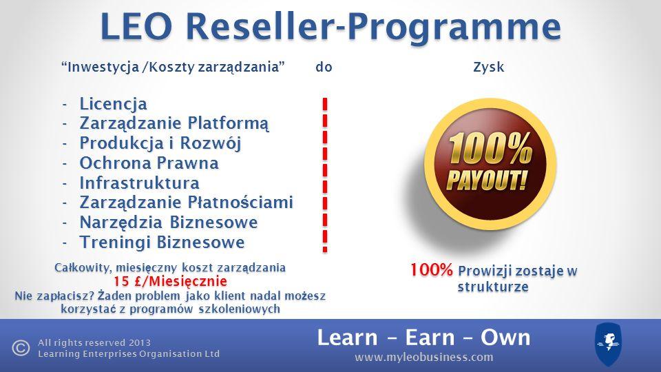 Learn – Earn – Own www.myleobusiness.com All rights reserved 2013 Learning Enterprises Organisation Ltd £150 £225 LEO Akademia 300 £ Mój dochód