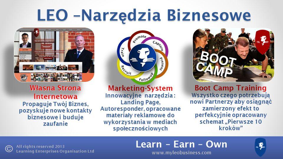 Learn – Earn – Own www.myleobusiness.com All rights reserved 2013 Learning Enterprises Organisation Ltd LEO –Narz ę dzia Biznesowe W ł asna Strona Internetowa Propaguje Twój Biznes, pozyskuje nowe kontakty biznesowe i buduje zaufanie Marketing-System Innowacyjne narz ę dzia : Landing Page, Autoresponder, opracowane materia ł y reklamowe do wykorzystania w mediach spo ł eczno ś ciowych Boot Camp Training Wszystko czego potrzebuj ą nowi Partnerzy aby osi ą gn ąć zamierzony efekt to perfekcyjnie opracowany schemat Pierwsze 10 kroków CAMPCAMP BOOTBOOT