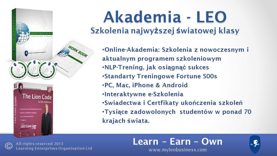 Learn – Earn – Own www.myleobusiness.com All rights reserved 2013 Learning Enterprises Organisation Ltd LEO Akademia Pakiet Startowy Lion-Code Lion-Code HD Video, przet ł umaczone lub z napisami w sze ś ciu j ę zykach.