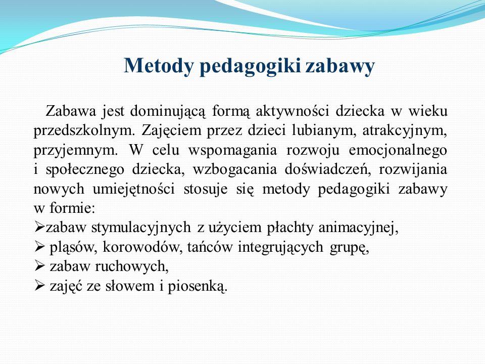 Metody pedagogiki zabawy Zabawa jest dominującą formą aktywności dziecka w wieku przedszkolnym. Zajęciem przez dzieci lubianym, atrakcyjnym, przyjemny