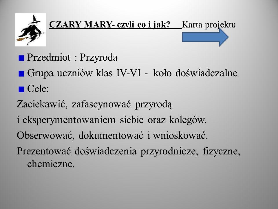 CZARY MARY- czyli co i jak? Karta projektu Przedmiot : Przyroda Grupa uczniów klas IV-VI - koło doświadczalne Cele: Zaciekawić, zafascynować przyrodą