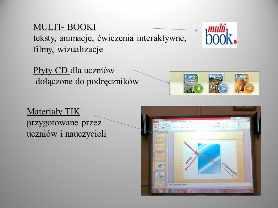 MULTI- BOOKI teksty, animacje, ćwiczenia interaktywne, filmy, wizualizacje Płyty CD dla uczniów dołączone do podręczników Materiały TIK przygotowane przez uczniów i nauczycieli
