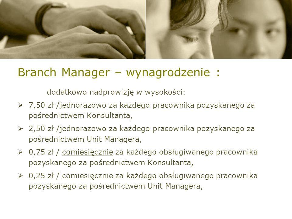 Branch Manager – wynagrodzenie : dodatkowo nadprowizję w wysokości: 7,50 zł /jednorazowo za każdego pracownika pozyskanego za pośrednictwem Konsultanta, 2,50 zł /jednorazowo za każdego pracownika pozyskanego za pośrednictwem Unit Managera, 0,75 zł / comiesięcznie za każdego obsługiwanego pracownika pozyskanego za pośrednictwem Konsultanta, 0,25 zł / comiesięcznie za każdego obsługiwanego pracownika pozyskanego za pośrednictwem Unit Managera,