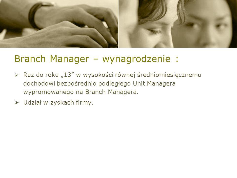 Branch Manager – wynagrodzenie : Szacunkowe wynagrodzenie Branch Managera waha się w przedziale: od 30.000,- zł do ok.100.000,- zł i więcej / M-c