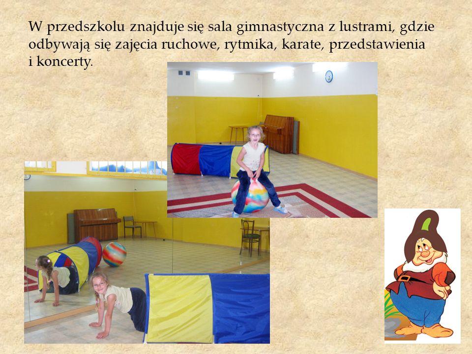 W przedszkolu znajduje się sala gimnastyczna z lustrami, gdzie odbywają się zajęcia ruchowe, rytmika, karate, przedstawienia i koncerty.