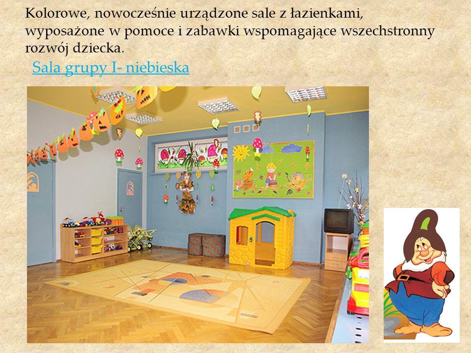 Kolorowe, nowocześnie urządzone sale z łazienkami, wyposażone w pomoce i zabawki wspomagające wszechstronny rozwój dziecka. Sala grupy I- niebieska
