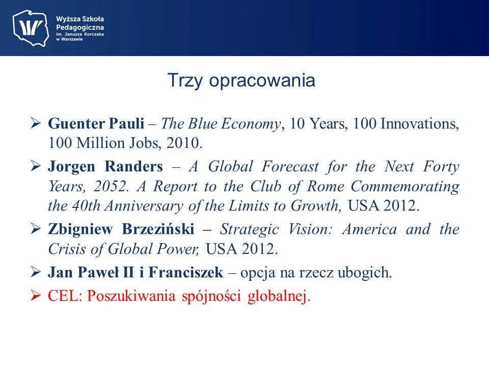 Trzy opracowania Guenter Pauli – The Blue Economy, 10 Years, 100 Innovations, 100 Million Jobs, 2010.