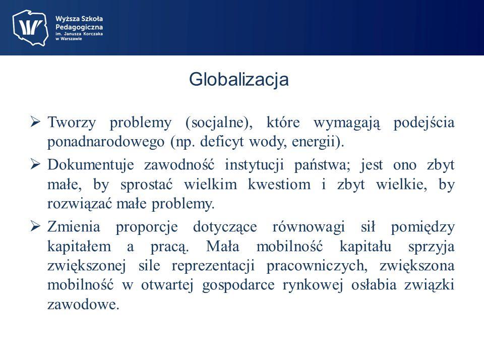 Globalizacja Stymuluje konkurencyjność; szansę otrzymują kraje o tańszej sile roboczej i niższych kosztach socjalnych.