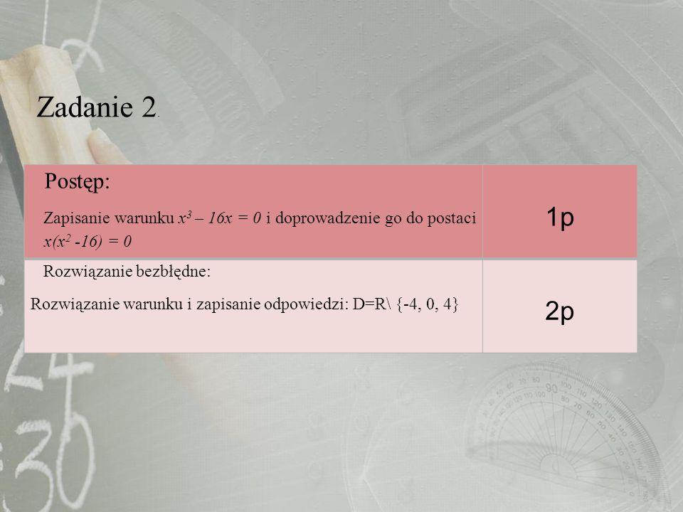 Zadanie 2. Postęp: Zapisanie warunku x 3 – 16x = 0 i doprowadzenie go do postaci x(x 2 -16) = 0 1p Rozwiązanie bezbłędne: Rozwiązanie warunku i zapisa