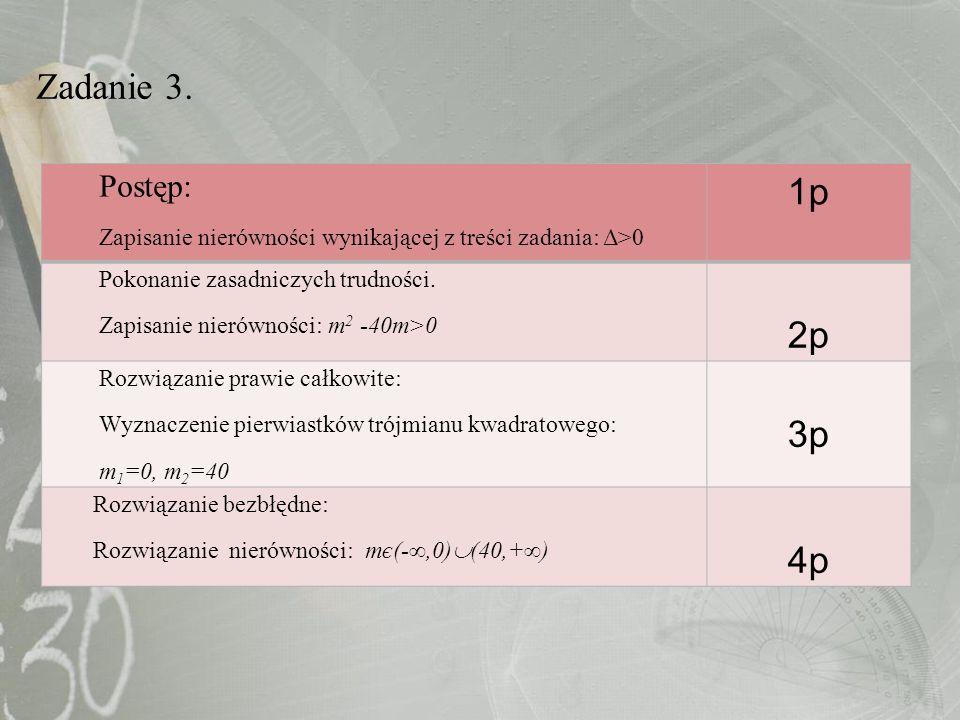 Zadanie 3. Postęp: Zapisanie nierówności wynikającej z treści zadania: Δ>0 1p Pokonanie zasadniczych trudności. Zapisanie nierówności: m 2 -40m>0 2p R