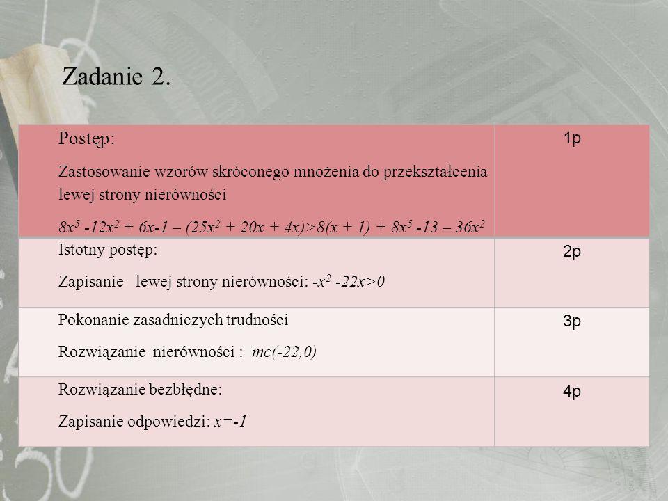 Postęp: Zastosowanie wzorów skróconego mnożenia do przekształcenia lewej strony nierówności 8x 5 -12x 2 + 6x-1 – (25x 2 + 20x + 4x)>8(x + 1) + 8x 5 -1