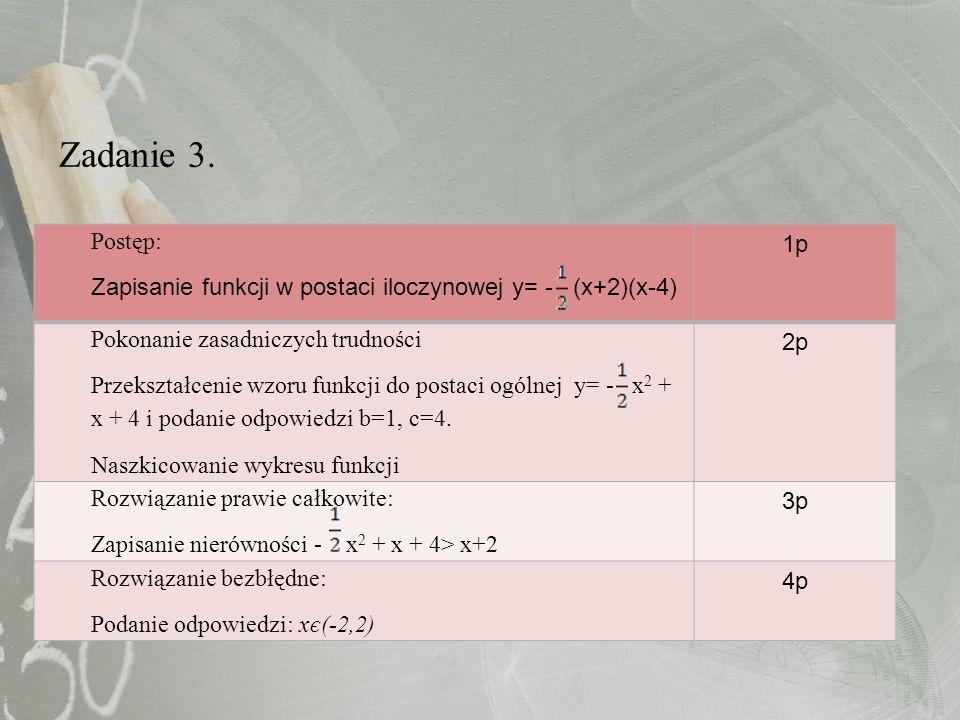 Zadanie 3. Postęp: Zapisanie funkcji w postaci iloczynowej y= - (x+2)(x-4) 1p Pokonanie zasadniczych trudności Przekształcenie wzoru funkcji do postac