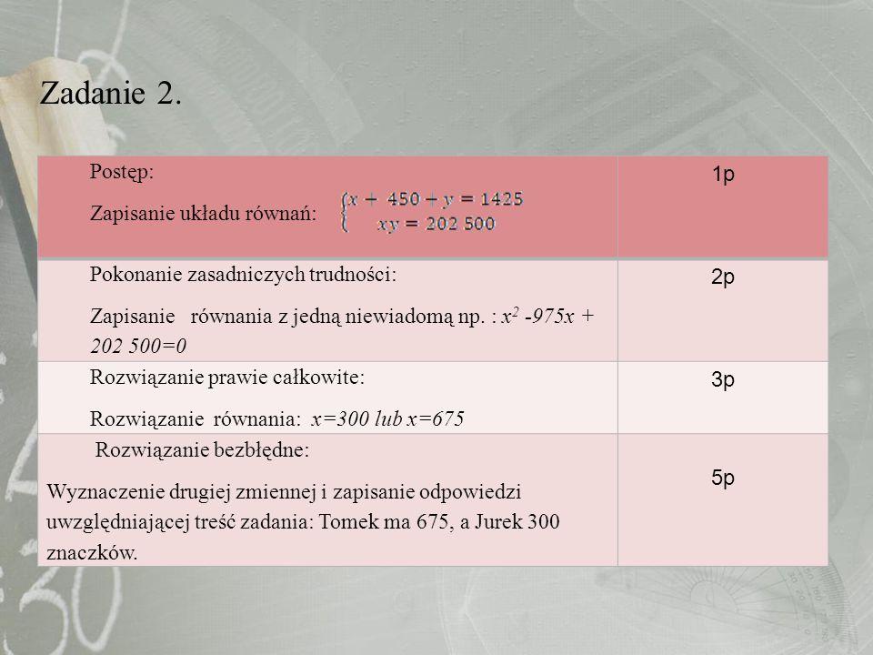 Zadanie 2. Postęp: Zapisanie układu równań: 1p Pokonanie zasadniczych trudności: Zapisanie równania z jedną niewiadomą np. : x 2 -975x + 202 500=0 2p
