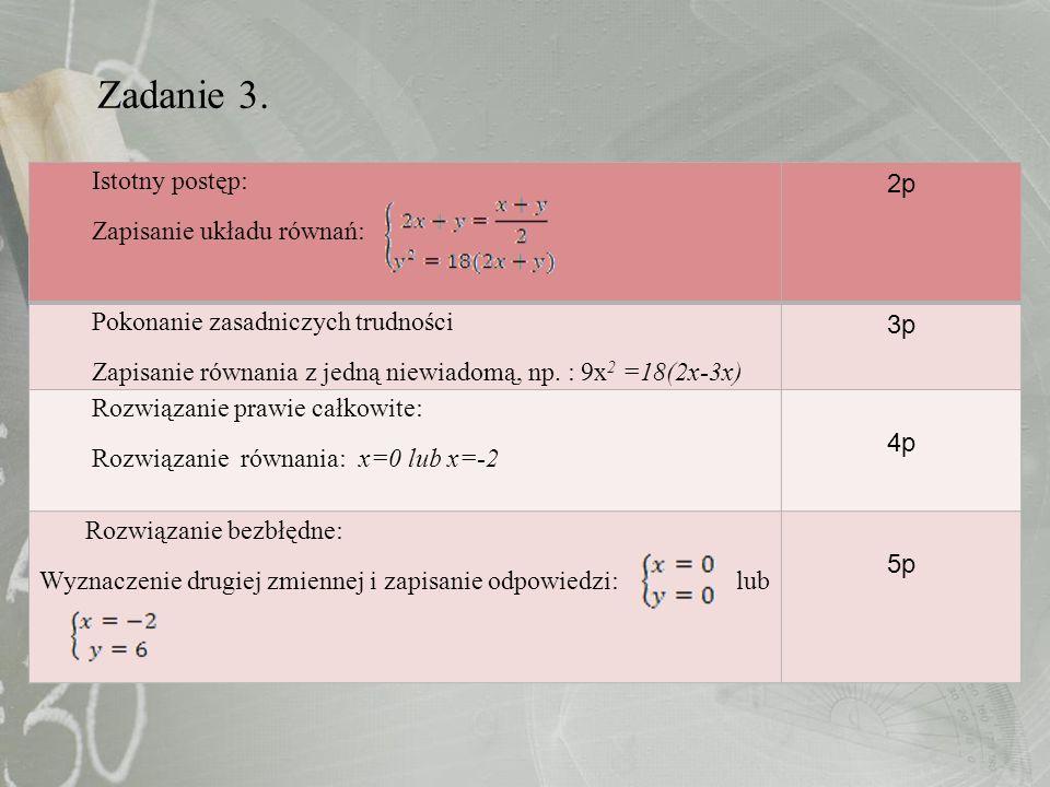 Zadanie 3. Istotny postęp: Zapisanie układu równań: 2p Pokonanie zasadniczych trudności Zapisanie równania z jedną niewiadomą, np. : 9x 2 =18(2x-3x) 3