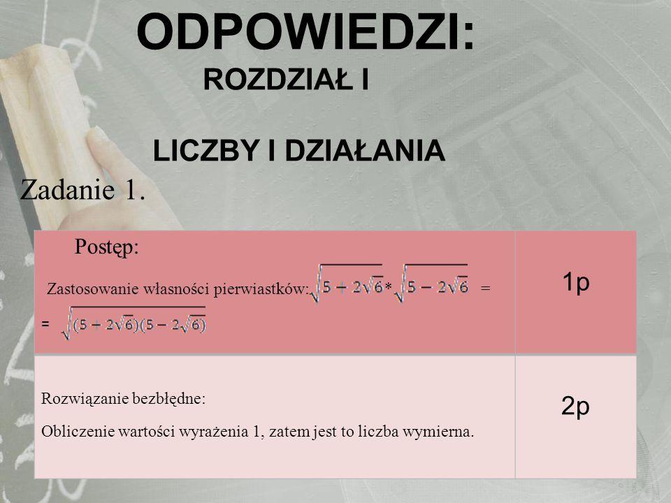 Postęp: Zastosowanie wzorów skróconego mnożenia do przekształcenia lewej strony nierówności 8x 5 -12x 2 + 6x-1 – (25x 2 + 20x + 4x)>8(x + 1) + 8x 5 -13 – 36x 2 1p Istotny postęp: Zapisanie lewej strony nierówności: -x 2 -22x>0 2p Pokonanie zasadniczych trudności Rozwiązanie nierówności : mє(-22,0) 3p Rozwiązanie bezbłędne: Zapisanie odpowiedzi: x=-1 4p Zadanie 2.