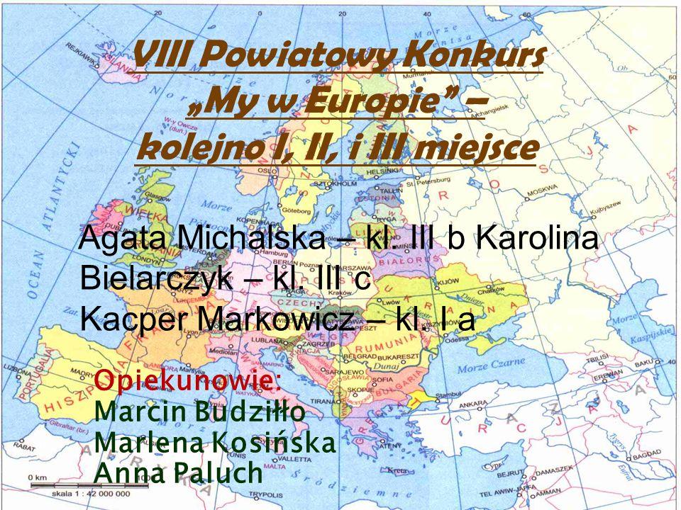 VIII Powiatowy Konkurs My w Europie – kolejno I, II, i III miejsce Agata Michalska – kl. III b Karolina Bielarczyk – kl. III c Kacper Markowicz – kl.