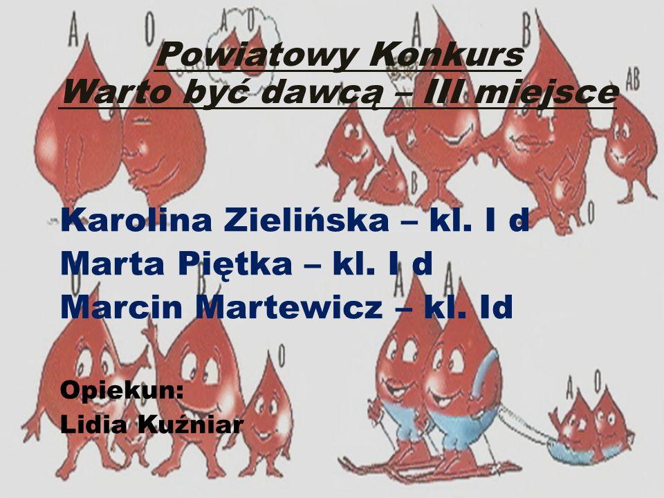 Powiatowy Konkurs Warto być dawcą – III miejsce Karolina Zielińska – kl. I d Marta Piętka – kl. I d Marcin Martewicz – kl. Id Opiekun: Lidia Kuźniar