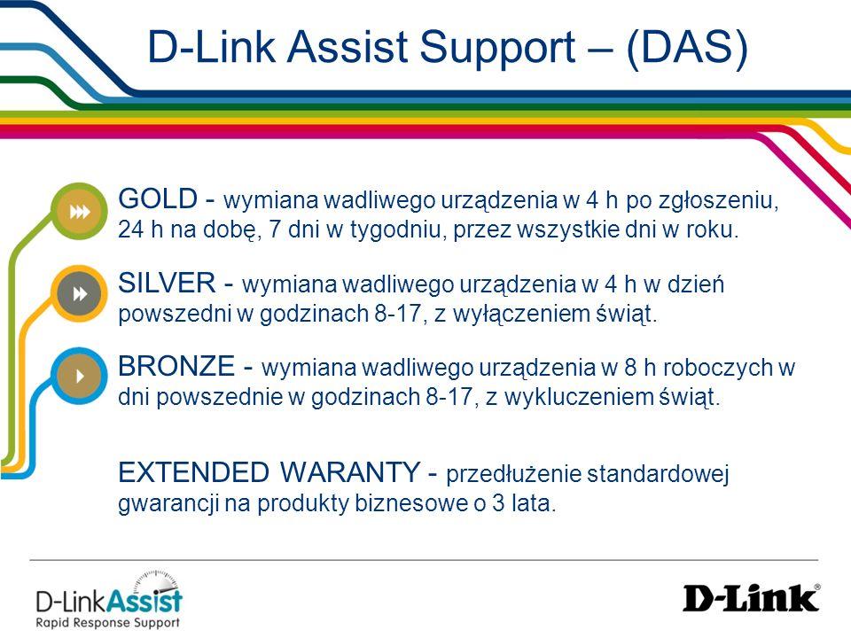 D-Link Assist Support – (DAS) GOLD - wymiana wadliwego urządzenia w 4 h po zgłoszeniu, 24 h na dobę, 7 dni w tygodniu, przez wszystkie dni w roku. SIL