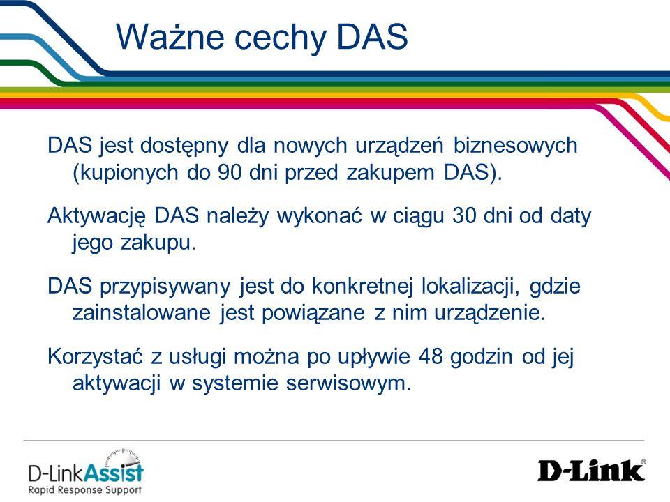 Ważne cechy DAS DAS jest dostępny dla nowych urządzeń biznesowych (kupionych do 90 dni przed zakupem DAS). Aktywację DAS należy wykonać w ciągu 30 dni