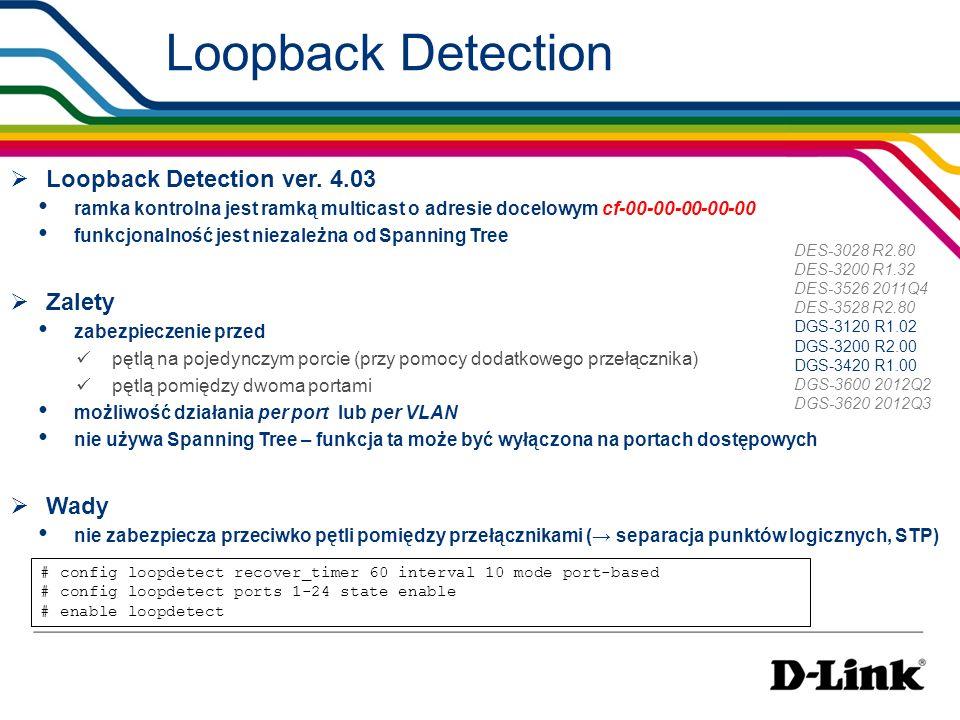 Loopback Detection Loopback Detection ver. 4.03 ramka kontrolna jest ramką multicast o adresie docelowym cf-00-00-00-00-00 funkcjonalność jest niezale