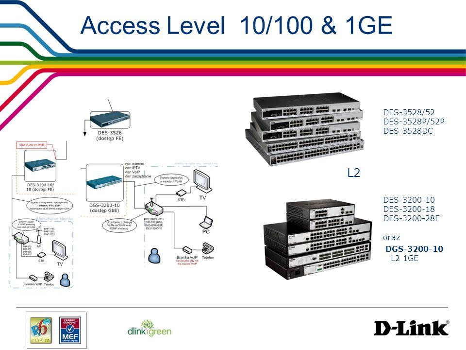 Access Level 10/100 & 1GE DES-3528/52 DES-3528P/52P DES-3528DC DES-3200-10 DES-3200-18 DES-3200-28F oraz DGS-3200-10 L2 1GE L2