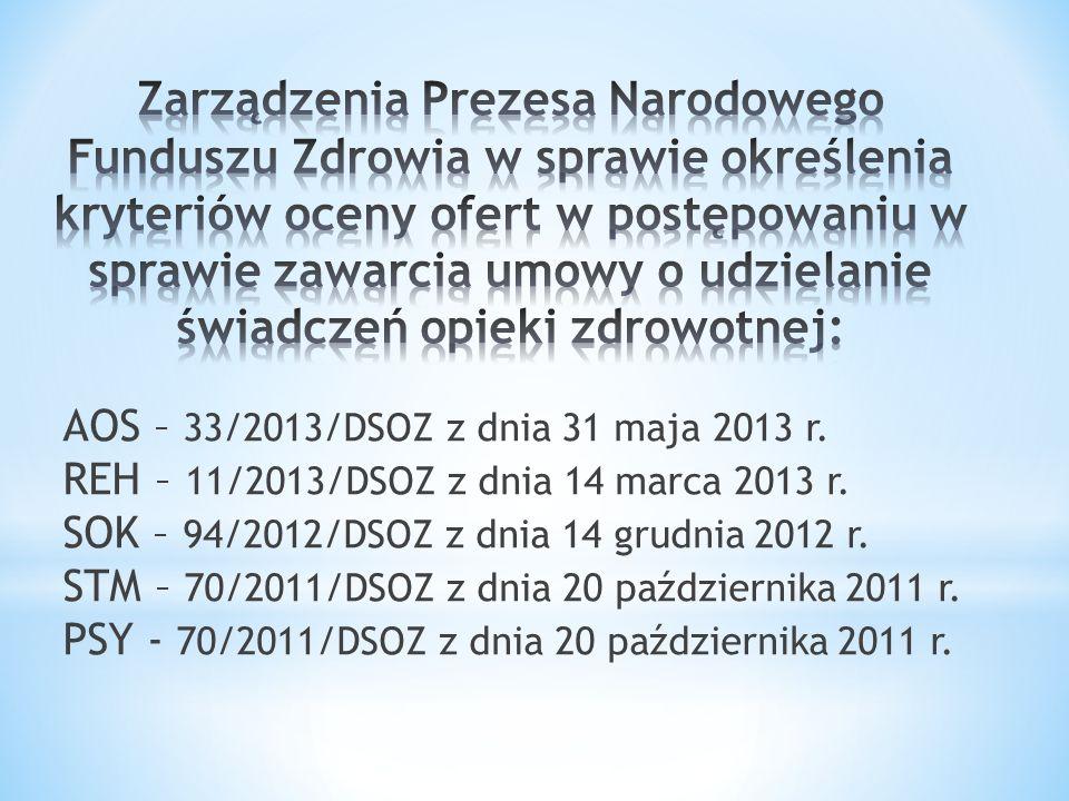 AOS – 33/2013/DSOZ z dnia 31 maja 2013 r.REH – 11/2013/DSOZ z dnia 14 marca 2013 r.