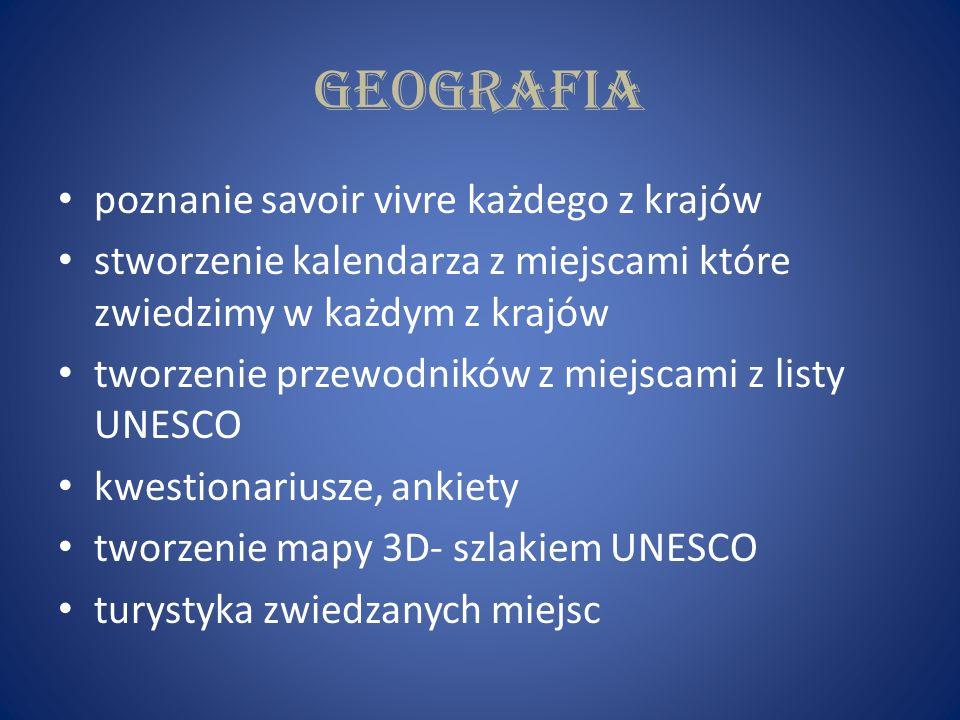 geografia poznanie savoir vivre każdego z krajów stworzenie kalendarza z miejscami które zwiedzimy w każdym z krajów tworzenie przewodników z miejscami z listy UNESCO kwestionariusze, ankiety tworzenie mapy 3D- szlakiem UNESCO turystyka zwiedzanych miejsc