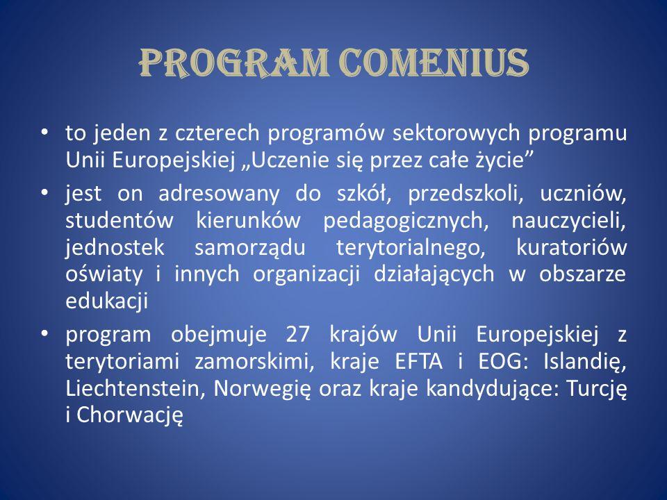 PROJEKT TEN ma na celu: wzmacnianie jakości i europejskiego wymiaru kształcenia nauczycieli wspieranie poprawy metod dydaktycznych i zarządzania szkołami oraz rozwijanie wśród młodzieży i kadry nauczycielskiej wiedzy o różnorodności kultur i języków europejskich, a także zrozumienia ich wartości pomaganie młodym ludziom w nabyciu podstawowych umiejętności i kompetencji życiowych niezbędnych do rozwoju osobistego, przyszłego zatrudnienia i aktywnego obywatelstwa europejskiego