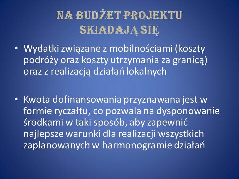 Na bud Ż et projektu sk ł adaj Ą si Ę Wydatki związane z mobilnościami (koszty podróży oraz koszty utrzymania za granicą) oraz z realizacją działań lo