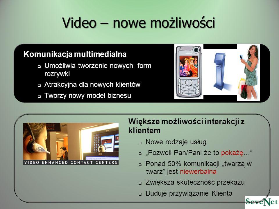 Video – nowe możliwości Większe możliwości interakcji z klientem Nowe rodzaje usług Pozwoli Pan/Pani że to pokażę… Ponad 50% komunikacji twarzą w twarz jest niewerbalna Zwiększa skuteczność przekazu Buduje przywiązanie Klienta Komunikacja multimedialna Umożliwia tworzenie nowych form rozrywki Atrakcyjna dla nowych klientów Tworzy nowy model biznesu