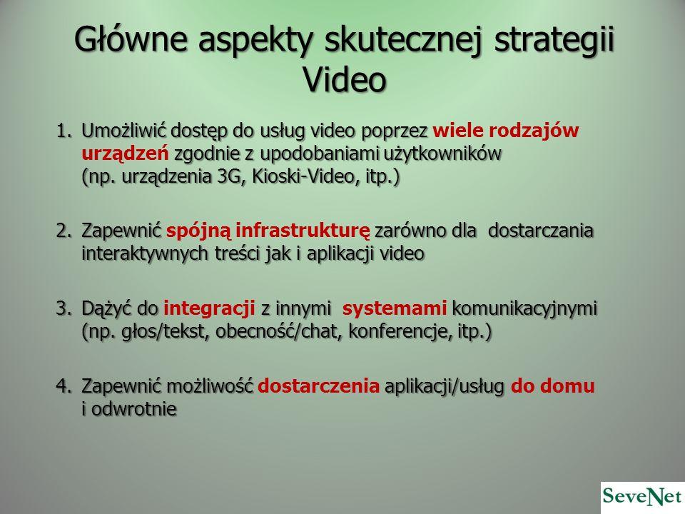 Główne aspekty skutecznej strategii Video 1.Umożliwić dostęp do usług video poprzez zgodnie z upodobaniami użytkowników (np. urządzenia 3G, Kioski-Vid
