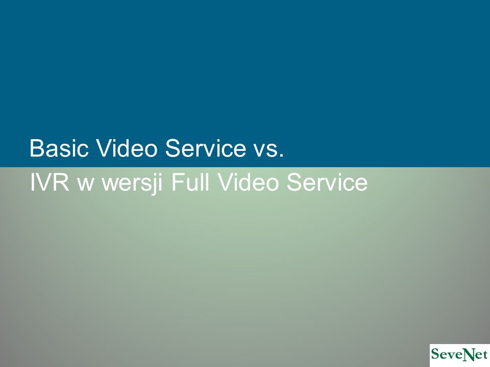 Basic Video Service vs. IVR w wersji Full Video Service