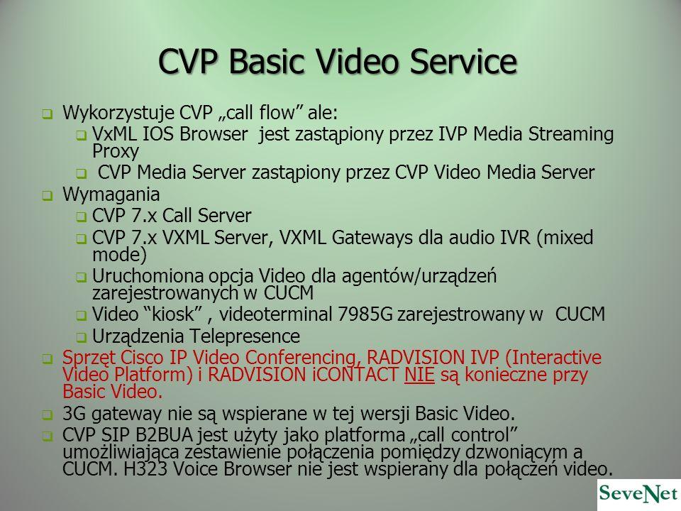 CVP Basic Video Service Wykorzystuje CVP call flow ale: VxML IOS Browser jest zastąpiony przez IVP Media Streaming Proxy CVP Media Server zastąpiony przez CVP Video Media Server Wymagania CVP 7.x Call Server CVP 7.x VXML Server, VXML Gateways dla audio IVR (mixed mode) Uruchomiona opcja Video dla agentów/urządzeń zarejestrowanych w CUCM Video kiosk, videoterminal 7985G zarejestrowany w CUCM Urządzenia Telepresence Sprzęt Cisco IP Video Conferencing, RADVISION IVP (Interactive Video Platform) i RADVISION iCONTACT NIE są konieczne przy Basic Video.
