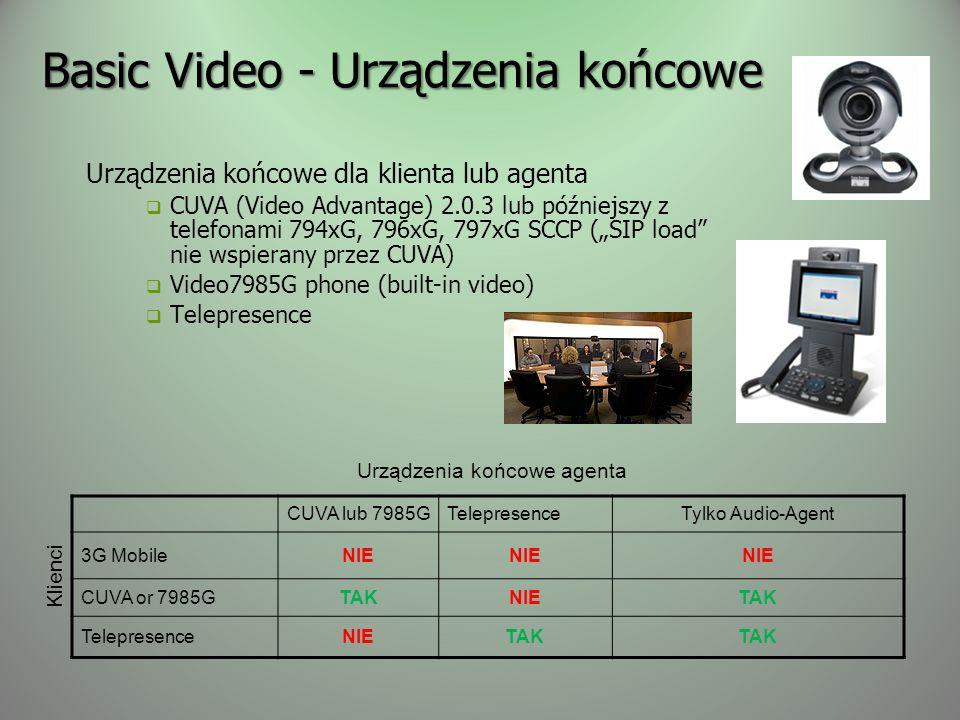 Basic Video - Urządzenia końcowe Urządzenia końcowe dla klienta lub agenta CUVA (Video Advantage) 2.0.3 lub późniejszy z telefonami 794xG, 796xG, 797xG SCCP (SIP load nie wspierany przez CUVA) Video7985G phone (built-in video) Telepresence CUVA lub 7985GTelepresenceTylko Audio-Agent 3G MobileNIE CUVA or 7985GTAKNIETAK TelepresenceNIETAK Urządzenia końcowe agenta Klienci