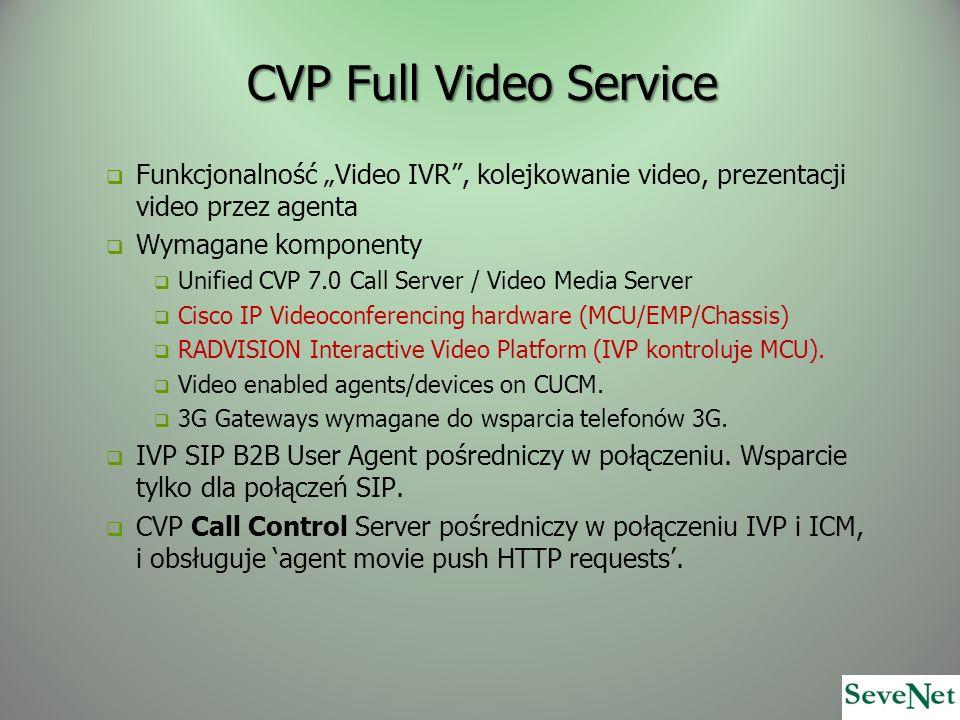 CVP Full Video Service Funkcjonalność Video IVR, kolejkowanie video, prezentacji video przez agenta Wymagane komponenty Unified CVP 7.0 Call Server /