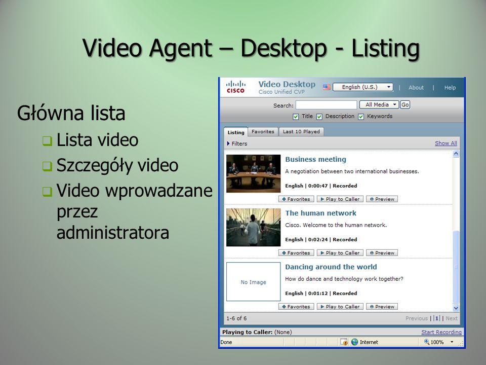 Video Agent – Desktop - Listing Główna lista Lista video Szczegóły video Video wprowadzane przez administratora